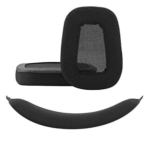 Geekria Almohadillas de repuesto para auriculares Logitech G633 G933 + almohadillas de repuesto para diadema/almohadillas para los oídos, almohadillas para auriculares y diadema, funda protectora