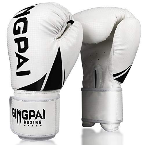 UKKO Boxhandschuhe Boxhandschuhe Sparring Pro 6 oz - 12 oz Boxsack Kampf MMA Muay Thai Grappling Mitts Martial Arts Training Kickboxhandschuh-Kampf,Weiß,6 oz