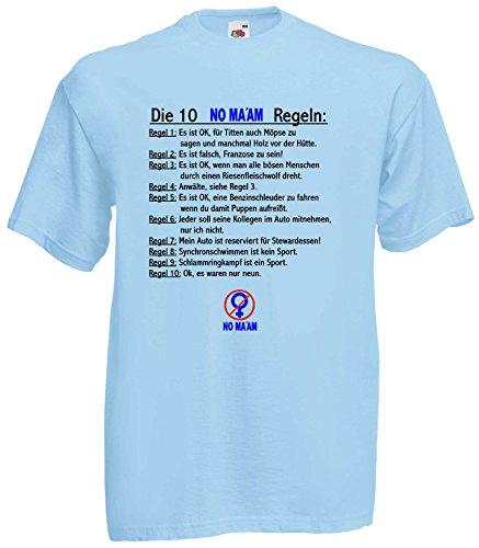 AL Bundy T-Shirt DIE 10 NO MA'AM Regeln, Hellblau, XXL