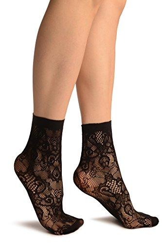 LissKiss Black Versailles Lace Socks Ankle High - Schwarz Socken, Einheitsgroesse (37-42)