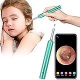 Otoscopio Endoscopios para Oídos Eliminar la Cera, Oídos Eliminar Otoscopio Herramienta con Cámara, Oídos Limpiador con 1080P FHD y 6 Luces LED, para Niños, Adultos (Verde)