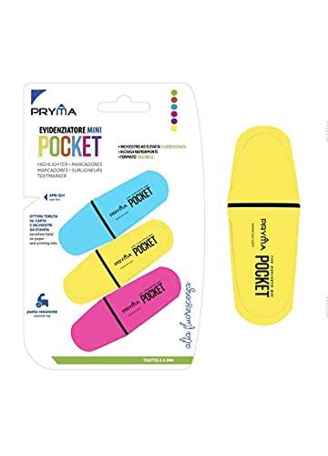 PRYMA Evidenziatore Mini Pocket Marcatore Doppio Tratto 2/5mm Colore Fluo Confezione Da 3
