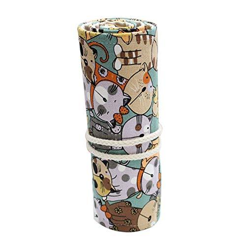 Nowbetter - Astuccio arrotolabile in tela con grazioso gatto, per penne e cancelleria, per scuola, ufficio, artigianato small 12 Holes