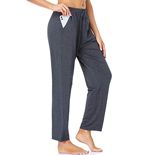ROCHVIE Womens Yoga Pants Loose Workout Sweat Pants for Women Comfy Lounge Pants with Pockets Casual Drawstring Pants Dark Grey XXL