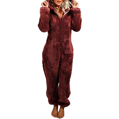 Una Pieza Pijamas con Capucha para Mujer Dormir Invierno Mono Polar Todo En Uno Onesie Loungewear