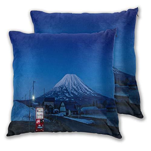 ELIENONO Juego de 2 Decorativo Funda de Cojín,Máquina expendedora Japón Mount Fujisan Houses,Funda de Almohada Cuadrado para Sofá Cama