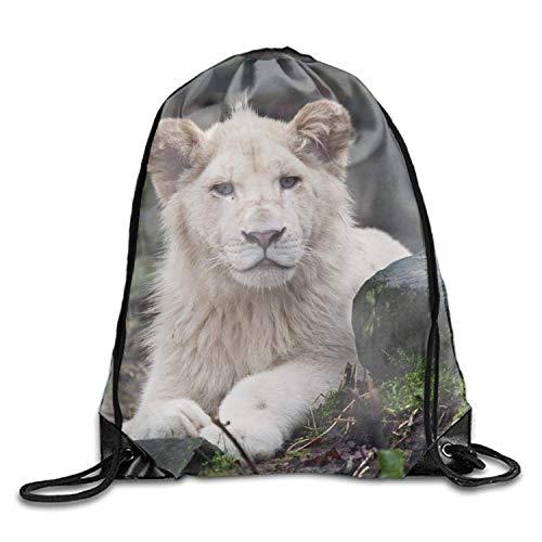 uykjuykj Sac de Plage avec Cordon de Serrage Motif Lion Blanc 43 x 35 cm