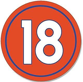 American Vinyl Round #18 Peyton Manning Denver Colors Sticker (Number 18 Broncos)