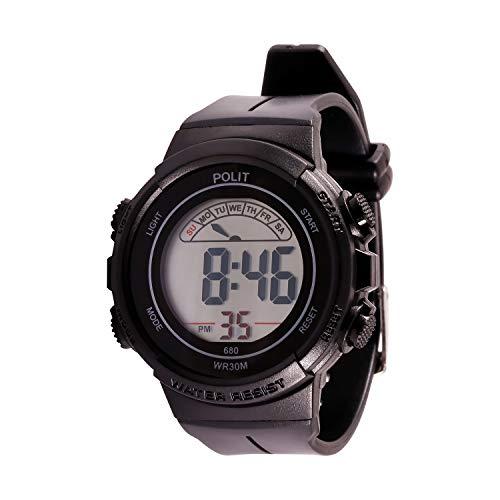 LED Digital Sport Armbanduhr für Kinder Mehrfarbige wasserdichte Elektronische Uhr mit Hintergrundbeleuchtung, Alarm und Stoppuhr(schwarz)