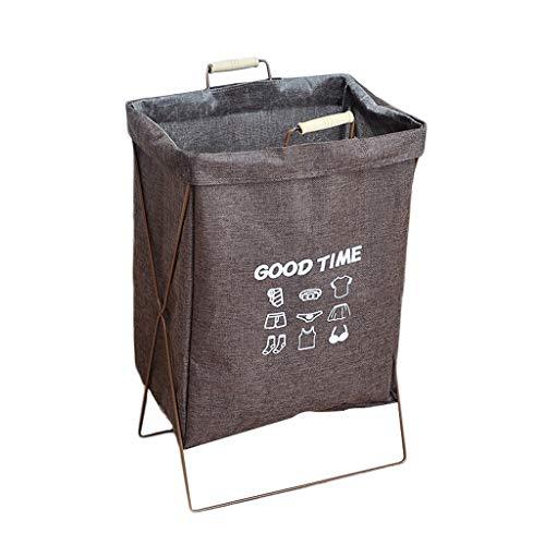 KKY-ENTER Panier à linge toile de jute coton pliable corbeille sale panier rond vêtements de stockage divers Coffre à Linge (Couleur : B)