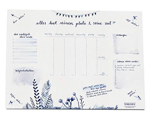 Eine der Guten Schreibtischunterlage A3 aus Papier zum Abreißen, blau weiß Aquarell Design, 30 x 42 cm, 25 Blatt, Schreibunterlage, Recyclingpapier, Abreißblock, umweltfreundlich, CO2-neutral