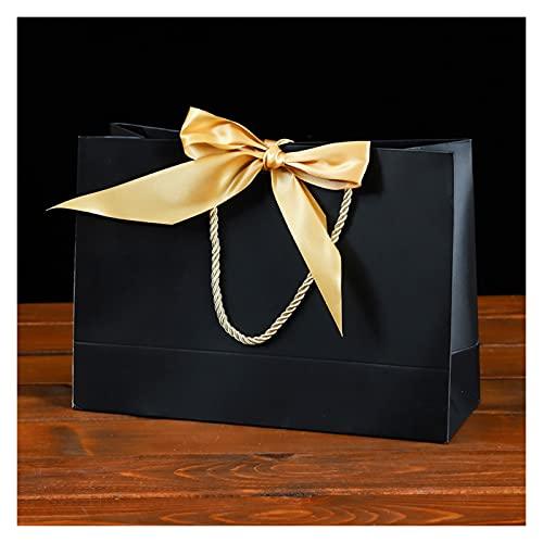 MVAOHGN 10pcs Bolsa de Regalo con manijas Presente Papel Bolsa con Cinta de Arco Paquete de Boda Box Favors Favores Fiesta de cumpleaños Bolsas Ropa Empaquetado (Color : Black)