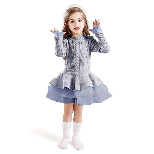 TTYAOVO Suter para Nias Vestido de Princesa de Punto de Manga Larga Tut de Invierno Vestir 6-7 aos(Talla140) 668 Gris