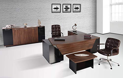 Aras Büromöbel Komplett Set, 3-teilig, Arbeitszimmer, Kirschholz/Schwarz, in diversen Farben erhältlich, W 220 x D 217