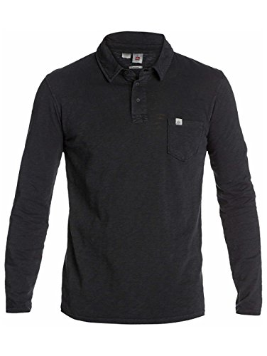 Quiksilver Buckeye - Polo - Uni - Manches longues - Homme - Noir (Black) - Small (Taille fabricant: S)