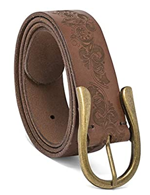 Timberland Women's Casual Leather Belt, Brown (Etched), Medium (30-34)