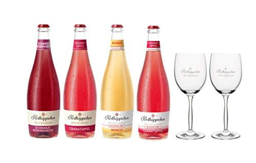 Rotkäppchen Fruchtsecco Mix Set - Schwarze Johannisbeere, Granatapfel, Mango Alkoholfrei und Granatapfel Alkoholfrei mit 2 Fruchtsecco-Gläsern (4 x 0,75l + 2 Gläser)