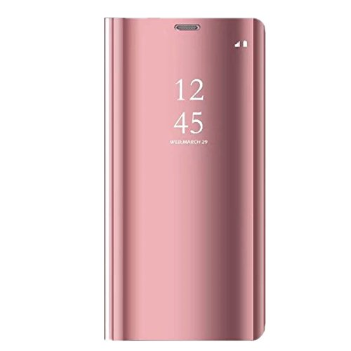 Huawei P20 Lite Hülle, Huawei P20 Pro Hülle Leder Spiegel Mirror Schutzhülle Flip Case Tasche Cover Handyhülle Lederhülle Etui mit Standfunktion für Huawei P20 2018 (Rose Gold, Huawei P20 Lite)