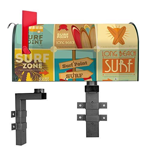 BANJADO US Mailbox | Amerikanischer Briefkasten 51x22x17cm | Letterbox Stahl grün | mit Motiv Surf Point | Wandhalterung