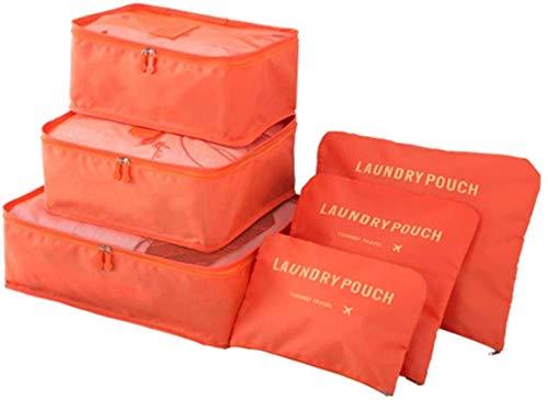 Ducomi Elite Traveler Set Organizzatori Viaggio Valigie, Sacchetti per Abbigliamento, Intimo e Calzature, Sistema 6 Cubi e Organizer Richiudibili di Stoccaggio per Vestiti, Scarpe (Orange)