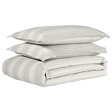 Stone & Beam Washed Linen Stripe Duvet Cover Set, Full/Queen, 90  x 90 , White with Blue Stripe
