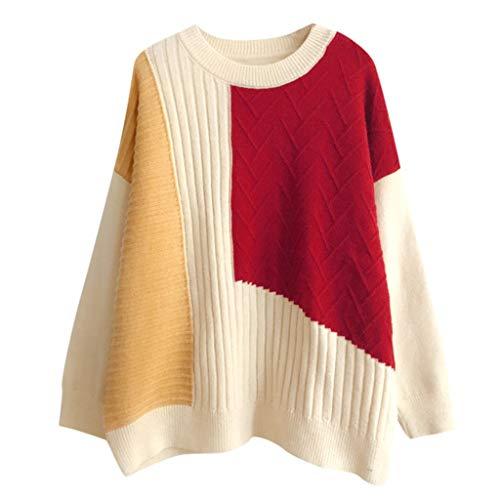 Suéter Mujeres de Moda Cuello Redondo Colorblock Pacthwork Blusas de Manga Larga Camisas Tops Outwear cálida cómoda Informal de Fiesta otoño e Invierno(Rojo,Talla única)
