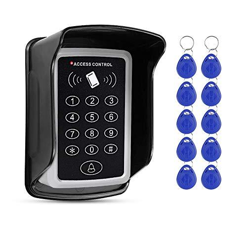 FTSTech Teclado de Control de Acceso Digital de 125KHz con Control de Acceso al Aire Libre Adecuado para el Sistema de Seguridad del Hogar+10 Piezas de Ilave Azul