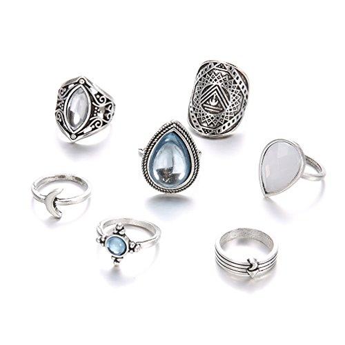 Yinew Juego de anillos vintage con cristales de estrás sobre los nudillos, flecha, luna, uñas, anillo midi (7 piezas de gotas de agua adoquín)