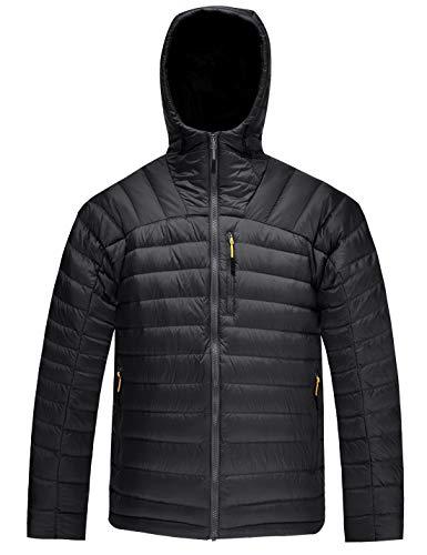 HARD LAND Herren Ultraleicht Daunenjacke Steppjacke mit Kapuze Winterjacke Packable Mantel (XXL, Schwarz)