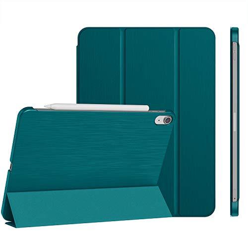 Soke Funda para iPad Air 4 de 10,9 pulgadas 2020, textura cepillada única, ultrafina, soporte trifold con parte trasera dura, soporta carga iPencil de 2ª generación, color azul