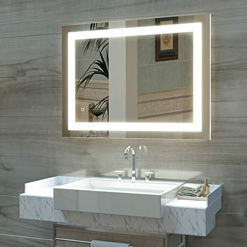 HAUSCHEN 36 x 28 inch LED Lighted Bathroom Wall Mounted Mirror with -