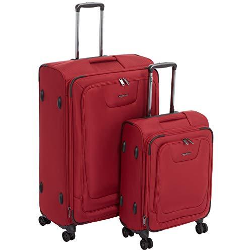 Amazon Basics, set di 2 valigie Premium, espandibili, morbide, con rotelle multiridezionali e chiusura TSA, (53 cm, 74 cm), Rosso