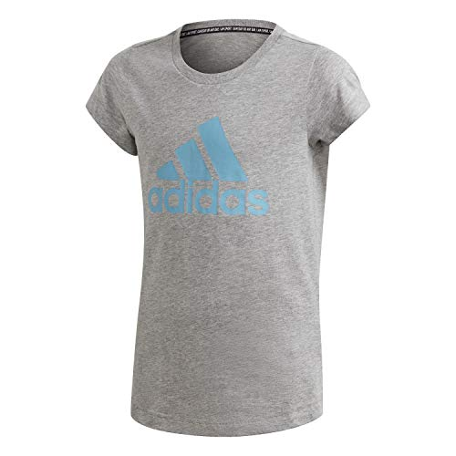 adidas Damen Yg Mh Bos Tee Unterhemd, Grau/Cyanblau (Brgrin/Ciasen), 9-10 Jahre