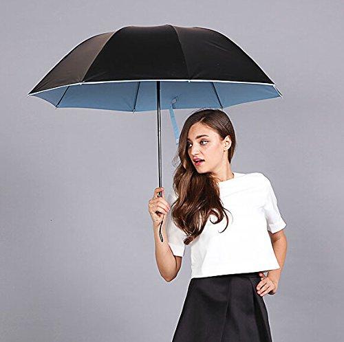 Flikool Nero Anti-UV Portatile Pieghevole Ombrello Sole/Pioggia Antivento Ombrello da Viaggio Umbrella - Blu
