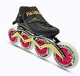 TTYY Rollerblades Professionali Adulti, Pattini a rotelle della Fibra del Carbonio per i Pattini di velocità in-Linea Neri delle Donne Black EU43