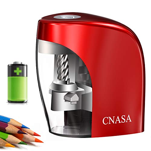 Electric Pencil Sharpener-CNASA Rechargeable Automatic Pencil Sharpener, Helical Blade to Fast Sharpen, Auto Stop Sharpener for 6-8mm No.2 & Colored Pencils for School Office Home Red