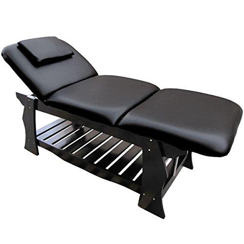 eyepower Table de Massage fixe 190x70cm lit cosmetique 3 zones bois Marron