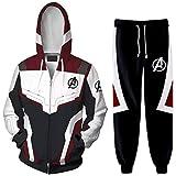 Silver Basic Sudadera con Capucha de Uniforme de Superhéroe con Conjunto Deportivo de Avengers para Hombre con Pantalones de Chándal Quantum Realm Disfraces de CosplayS,3885Deep Red-2…