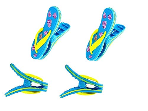 C&H Solutions 2 Pack Set Pair of Flip Flops Beach Towel Clips Jumbo Size for Beach Chair, Cruise Beach Patio, Pool Accessories, Household Close Snacks...