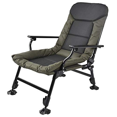 Klappbare Liegestuhl Campingliege Karpfenliege Gartenliege mit Verstellbare Rückenlehne Tragbar Campingstuhl Angelsessel für Angeln Camping, 600D Oxford Stoff + Stahlrohr, bis 180kg belastbar