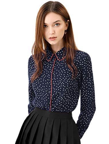 Allegra K Damen Langarm Bubikragen Colorblock Polka Dots Shirt Bluse Blau L