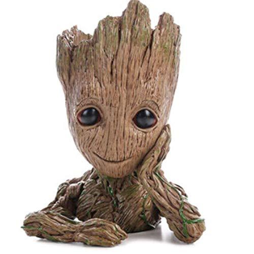 TPK Baby Groot Blumentopf Figur - Übertopf Groß Aquarium Deko Figur Holz Aschenbecher Stiftehalter - Innen