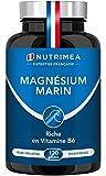 Magnésium Marin et Vitamine B6 | Jusqu'à 300 mg/jour | 120 gélules d'origine végétales jusqu'à 4 mois de cure | Combat efficacement la fatigue | Fabrication Française | Nutrimea