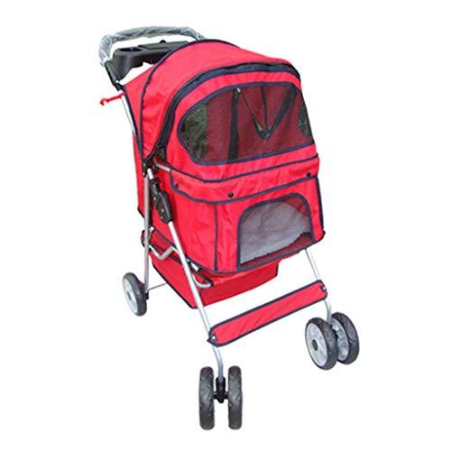 ZH1 Borsa per Animali Carrello per Animali Domestici, Passeggino da Viaggio per Cani Cani Puppy Jogger Supporto Pieghevole con Quattro Ruote, 75L x 51W x 98H (cm) (Color : Red)