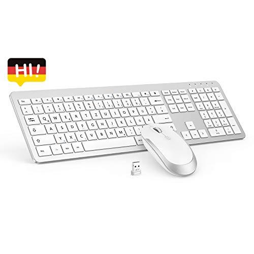 seenda Wireless Tastatur Maus Sets - 2,4Ghz Ultra Dünne Drahtlose Tastatur und Maus Wiederaufladbar Tastatur (QWERTZ, Deutsches Layout) für Laptop PC - Weiß & Silber