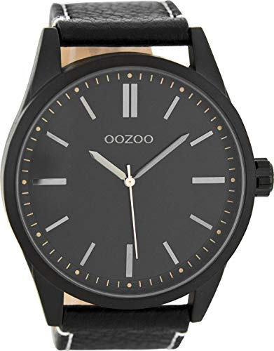 Oozoo Herrenuhr mit Lederband 50 MM Black/Schwarz/Schwarz C7844