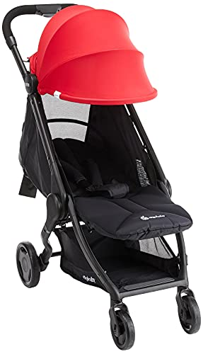 ErgobabyMetro Lightweight Buggy Stroller Pushchair with Sun-Shade Canopy One Hand Foldable, 6Months to 18kg Toddler (Red)