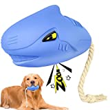 Dog Squeaky Toys for Aggressive Chewers, Dog Chew Toys for Small Medium Large Breed Natural Rubber Interactive Dog Toy (Shark Toy)
