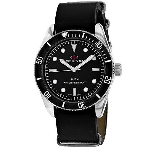 Seapro Reloj de pulsera para hombre Revival de acero inoxidable de cuarzo, correa de piel, negro, 22 años (modelo: SP0302)