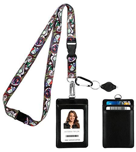 Pablo Picasso Girl Before a Mirror Correa para el cuello del acollador con cartera de ID de cuero de la PU Monedero con 3 bolsillos para tarjetas, clip de seguridad para la separación Llavero linterna